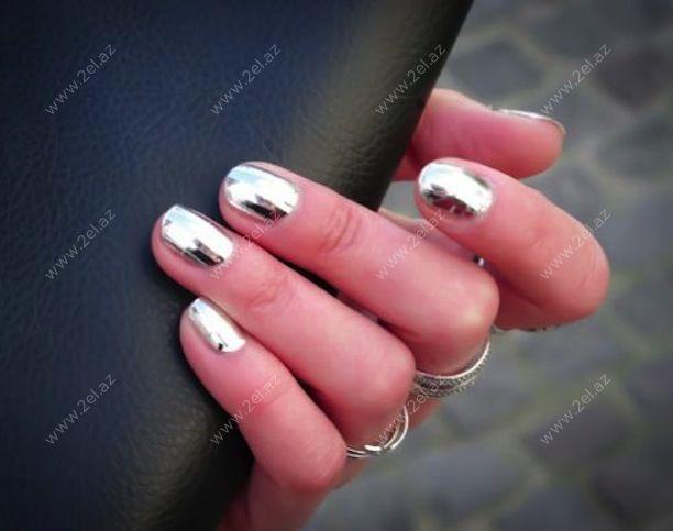 Зеркальный гель для ногтей дизайн на короткие ногти